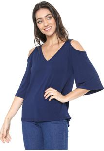 Blusa Mercatto Off Shoulders Azul-Marinho