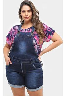 Macaquinho Jeans Xtra Charmy Plus Size Feminino - Feminino-Azul