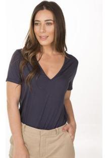 Camiseta Cora Básico Decote V Em Modal Feminina - Feminino-Marinho