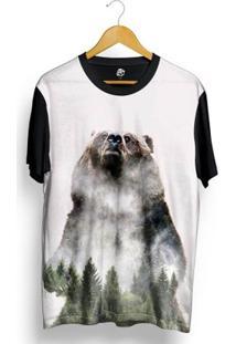 Camiseta Bsc Urso Floresta Full Print - Masculino-Preto
