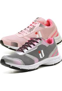 Kit 2 Tênis Ousy Shoes Easy Tranning Star 2019 Rosa E Cinza