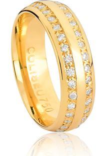 Aliança De Ouro 18K Anatômica Larga Polida Com 2 Frisos De Diamantes-Alianças Exclusivas Coliseu(6,00Mm)