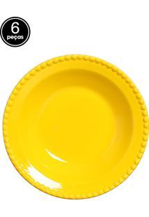 Conjunto 6 Pratos Fundos Bolinha Amarelo Real Scalla