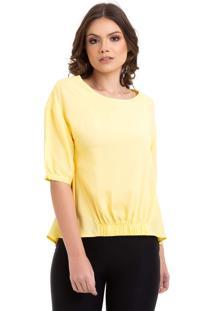 Blusa Kinara Viscose Lisa Com Elástico Amarelo
