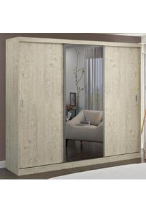 Guarda-Roupa Casal 3 Portas Com 1 Espelho 100% Mdf 7320G4E1 Marfim Areia - Foscarini