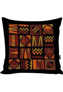 Capa De Almofada African- Preta & Laranja Escuro- 45Stm Home