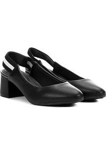 Scarpin Modare Salto Baixo Chanel Gorgurão - Feminino-Preto
