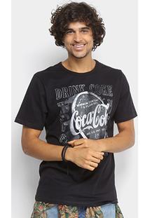 Camiseta Coca-Cola Estampada Logo Frontal Masculina - Masculino-Preto
