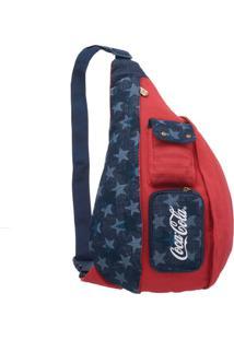 Bolsa Transversal Coca Cola American Flag - Unissex-Vermelho+Azul