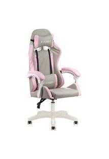Cadeira Gamer Home Office Cinza Com Rosa Claro