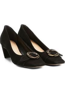 Scarpin Couro Shoestock Salto Baixo Fivela - Feminino-Preto