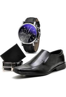 Sapato Social Top Flex Cinto Carteira E Relógio 800L Preto