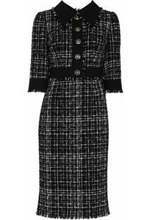 Dolce & Gabbana Vestido Midi Mangas Curtas De Tweed - Preto