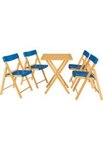Conjunto Mesa E 4 Cadeiras Tramontina 10630033 Dobráveis Fold Azul