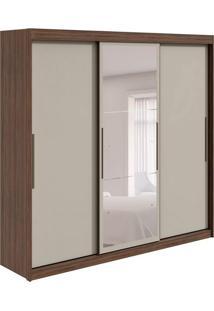Guarda-Roupa Casal Com Espelho Taurus Flex 3 Pt 6 Gv Imbuia E Off White