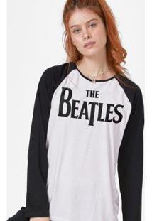 Camiseta Manga Longa Feminina The Beatles Logo - Feminino-Branco+Preto