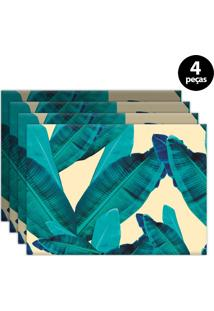 Kit 4Pçs Jogo Americano Mdecor Folhas 40X28Cm Azul
