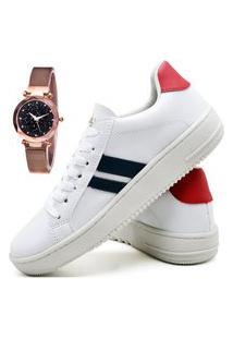 Tênis Sapatênis Fashion Com Relógio Gold Feminino Dubuy 023El Vermelho