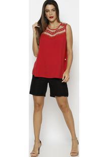 Blusa Com Tule & Recortes- Vermelha- Maclumaclu