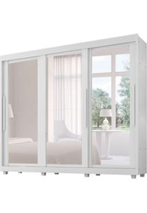 Guarda-Roupa Casal Com Espelho Milano 3 Pt Branco
