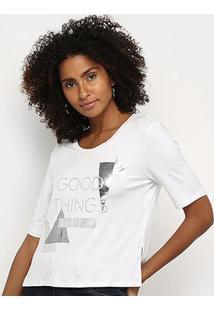 T-Shirt Morena Rosa Decote Redondo Com Silk Feminina - Feminino-Branco