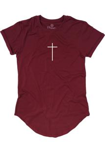 Camiseta Stoned Longline Faith Bordô