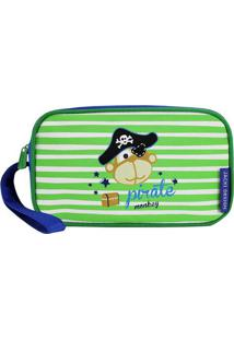 Nécessaire Listrado Pirata- Azul Escuro & Verde Claro