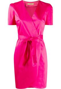 Twin-Set Vestido Envelope Com Cinto - Rosa