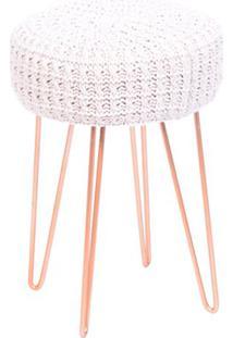 Puff Glamour- Branco & Ros㪠Gold- 40Xã˜28Cm- Or Dor Design