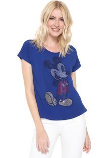 Blusa Cativa Disney Mickey Hotfix Azul