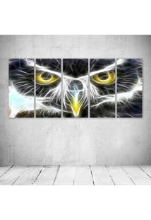 Quadro Decorativo - Owl Neon Face - Composto De 5 Quadros
