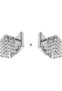 2 X Arandela De Cristal Legitimo Clearwall Perfeita - Prata - Dafiti