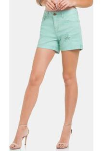 Shorts Sarja Chapa Barriga Com Elastano Azul