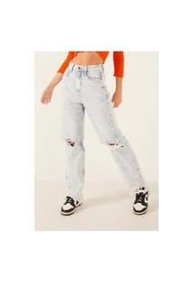 Calça Jeans Denim Zero Dad Pants Com Rasgos