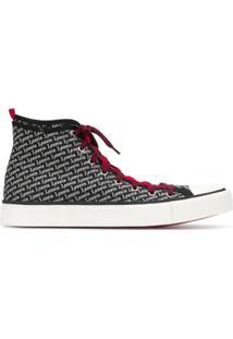 Lanvin Logo Print Hi-Top Sneakers - Preto