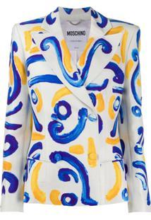 Moschino Double-Breasted Tile-Print Blazer - Branco