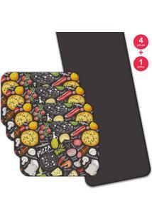 Jogo Americano Love Decor Com Caminho De Mesa Wevans Pizza Kit Com 4 Pçs + 1 Trilho