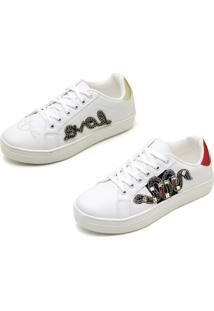 Kit 02 Pares Tenis Casual Bordado Sapatotop Shoes Branco
