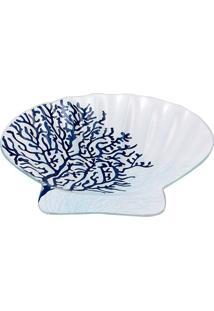 Concha Decorativa- Branca & Azul- 23X23X3Cmdecor Glass