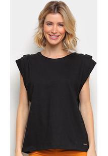 Camiseta Colcci Básica Feminina - Feminino-Preto