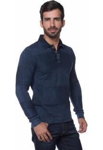 Camisa Polo Links Le Tisserand Azul Stoned