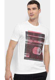 Camiseta Calvin Klein Regular Estampa Cadeira Masculina - Masculino-Branco