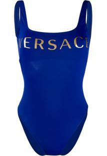 Versace Maiô Com Estampa De Logo - Azul