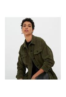 Jaqueta Em Veludo Alongada Lisa | Marfinno | Verde | Pp