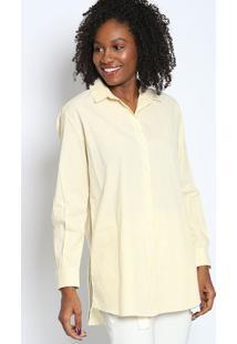 Camisa Alongada Listrada- Amarelo Claro & Brancatvz