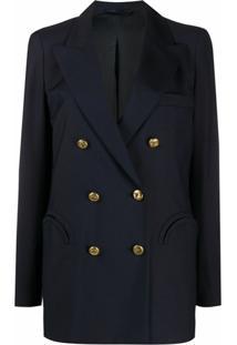 Blazé Milano Blazer Com Abotoamento Duplo - Azul
