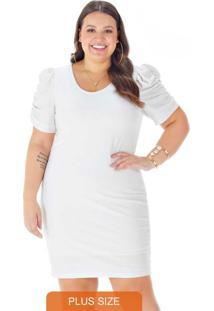 Vestido Malha Brilho Mangas Bufantes Branco