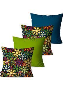 Kit Com 4 Capas Para Almofadas Pump Up Decorativas Verde Flores 45X45Cm