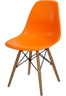 Cadeira Eames Polipropileno Laranja Base Madeira - 14912 - Sun House