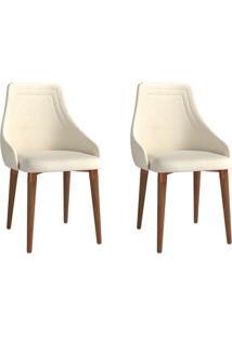 Conjunto Com 2 Cadeiras De Jantar Evelyn Bege